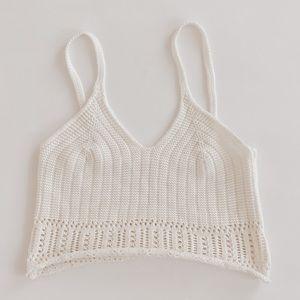 Crochet Cream Cropped Top